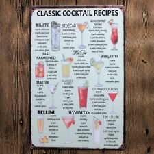 Metal Tin Sign CLASSIC COCKTAIL RECIPES Bar Pub Home Vintage Retro Poster Cafe