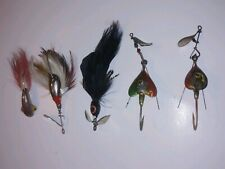 5 Lure Lot - Vintage Dixie 14 Feathered Lures - Hawaiian Big Game Lures