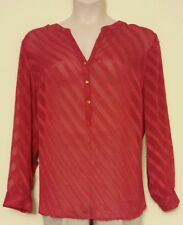 LEYLA NEW Sexy Red Semi Sheer Long Sleeve Henley Blouse Top Plus 3X/24W QCO