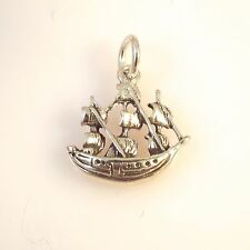 .925 Sterling Silver 3-D JAMESTOWN SHIP CHARM NEW Pendant Sailboat 925 NT51