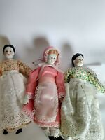"Collectible Schmid  Porcelain Dolls - 7 1/2"" tall - Vintage 80's (Lot of 3)"