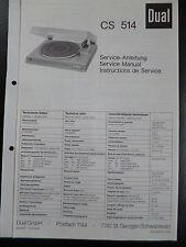 Original Service Manual Service Anleitung DUAL CS 514