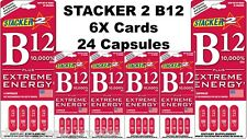 Stacker Two B12 10,000% PLUS EXTREME ENERGY (Lot 6X Cards) 24 Capsules