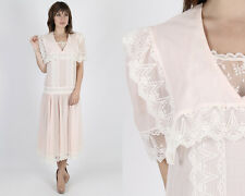 Vintage 80s Jessica McClintock Dress Gunne Sax Pink Deco Floral Lace Midi Maxi M