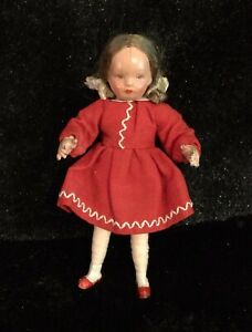 "Vintage CaHo Dollhouse Doll, German 3.5"" w/ composition face, articulating body."