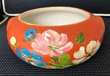 VINTAGE UHL/RANSBURG Handpainted Cracker Bowl-Orange Cosmos-No Lid-EUC