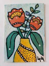 ORIGINAL ACEO Painting Folk Art Flower Whimsical Tulip Vase Botanical Leaf Pot