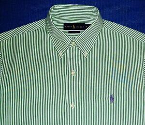 RALPH LAUREN SLIM FIT Green White Stripes Purple Button Down Shirt M MEDIUM POLO