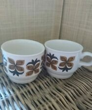 70s Vintage Retro Staffordshire Pottery 2 Tea Cups Original Scandi