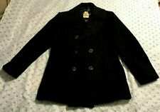 vintage US NAVY 100% WOOL OVERCOAT PEACOAT MEN'S 42R pea coat BLACK STERLINGWEAR