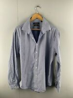 Country Road Mens Blue Check Cotton Long Sleeve Collared Button Up Shirt Size XL