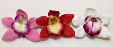 Set of 3 ~ Hawaiian Tropical Wedding Bridal Party Foam Orchid Flower Hair Clips