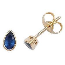 9ct Yellow Gold Rim Set 5x3 Pear Shaped Blue Sapphire Studs *ED243S