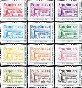 "Set 12 Perso stamps ""100 years Endurance Flight Zeppelin LZ4 - Strasbourg"" 2008"