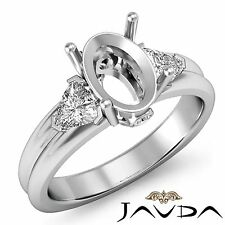 3 Stone Fine Diamond Trillion Oval Semi Mount Engagement Ring Platinum 950 0.6Ct