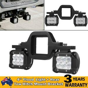 Tow Hitch Mounting Bracket + 2x 4'' Flood LED Work Light Pods Backup Reverse AU