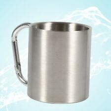 NEW Portable Stainless Steel Camping Mug Hiking Sports Cup With Carabiner Hook