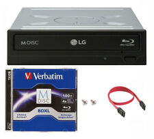 LG 16x WH16NS40 Internal Blu-ray DVD Drive+1pk 100GB Verbatim MDisc BDXL+Cable