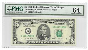 1981 $5 CHICAGO FRN, PMG GEM UNCIRCULATED 64 BANKNOTE