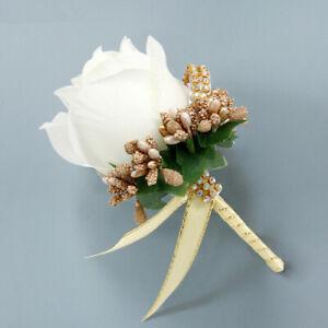 Bride Groom Boutonniere Rose Corsage White Artificial Silk Wrist Flower Brooch