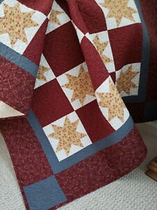"""""""Starry Night"""" Handmade Throw, Vibrant Reds/Gold, 100% Cotton, Machine Quilted"""