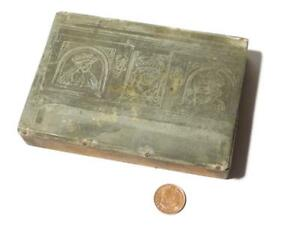 19thC KING & QUEEN & Crowned Rose in Windows Picture Printing Block #92*