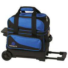 Ebonite Transport 1 Ball Roller Blue Bowling Bag with Wheels 5 Year Warranty