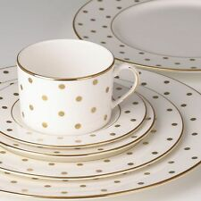 $278 NEW Lenox  8 Pc SET DINNER + SALAD Plate s Kate Spade LARABEE ROAD GOLD