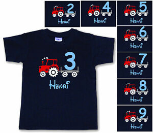 Geburtstag T-Shirt Traktor + Zahl 2, 3, 4, 5, 6, 7, 8, 9 mit Wunschnamen * NEU *