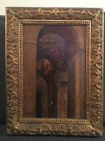 Edmond Aman-jean - Interieur De Palais. tableau ancien Symboliste