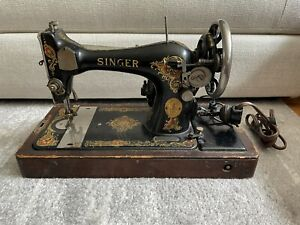 Singer 128 Vintage 1923 Sewing Machine With Bentwood Case