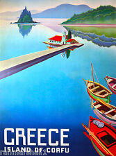 Greece Greek Island Corfu Europe European Vintage Travel Advertisement Poster