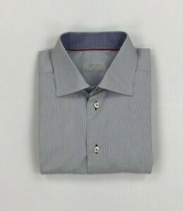 "Men's Blue & White Striped Eton Shirt 16"" Slim Flip Cuffs Long Sleeved Spread A"