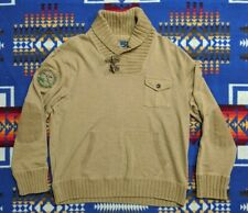 Polo Sportsman Ralph Lauren Beige Pocket Pullover Shawl Patch Toggle Sweater XL