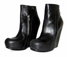 $1725 38 RICK OWENS Classic Black Scarpa Leather Wedge Ankle Boots US 8 UK5 12cm