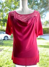American Glamour Badgley Mischka Red Lace Blouse  Ladies Size: L.
