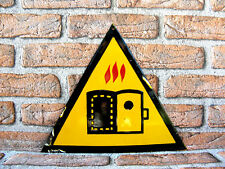 Rare Vintage Enamel Safety Sign Attention, Hot Oven,Old Industrial Wall Decor