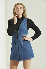 Womens Denim Ripped Frayed Turn up 100 Cotton Dungarees Sizes 6 8 10 12 14 6
