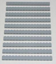 Lego Lot of 10 New Light Bluish Gray Bricks 1 x 16 Dot Pieces Parts