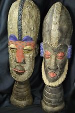 AFRICAN CARVED WOOD & HAMMERED METAL HEADS ~ ASHANTI CHIEF & WIFE BUST