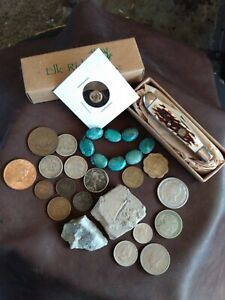 Foreign Coins,Knife,Beads & Fossil