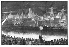 Moskau, mit dem Kreml, Russland, illumination, Original-Holzstich von 1896