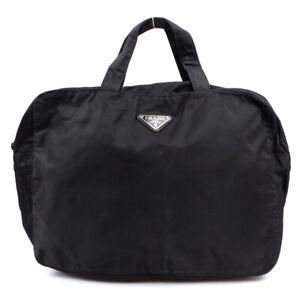 PRADA Handbag triangle logo nylon black