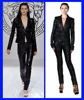 F/W 2013 look #4 NEW VERSACE BLACK PATCHWORK LEATHER PANTS SUIT  38 - 2