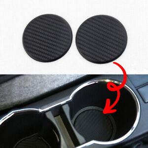 2x Black Auto Car Accessories Water Cup Slot Pad Non-Slip Mat Carbon Fiber Look