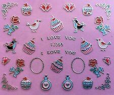 San Valentino Nail Art Adesivi Decalcomanie trasferimenti Decorazione Cupcake Piccioncini TJ99