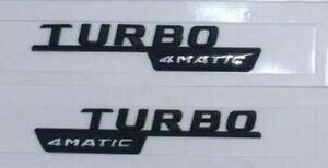 TURBO Schwarz Matte Briefe Kofferraum Emblem Aufkleber für 4MATIC TURBO 3D