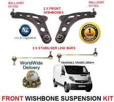 FOR VAUXHALL VIVARO 06 FRONT 2 WISHBONE ARMS 2 STABILISER LINK BARS SUSPENSION