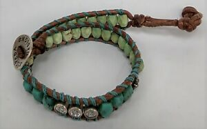 """Silpada All Wrapped Up Turquoise-CZ-Sterling Silver-Leather Boho 6/5"""" Bracelet"""