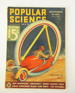 Popular Science Monthly - Nov 1933 - Fabulous cover by Wittmack - good cond.